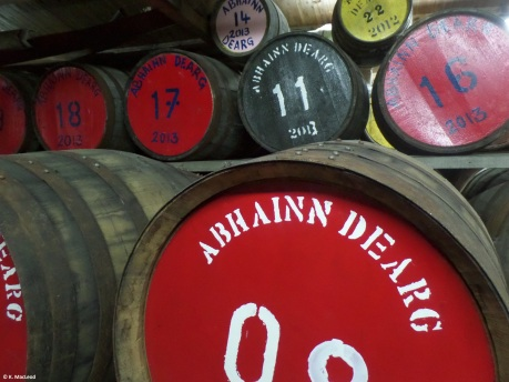 Whisky barrels at Abhainn Dearg Distillery